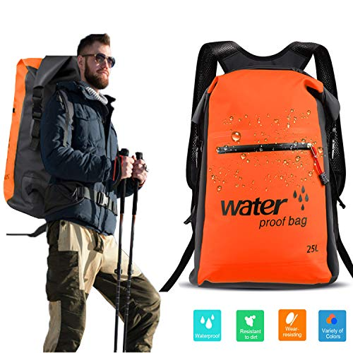Floating Waterproof Dry Bag Backpack 25L with Inner Zip Wet Pocket & Zip Dry Pocket & Front Zip Pocket Roll Top Compression Dry Sack Keep Gear Dry for Kayaking Rafting Boating Camping