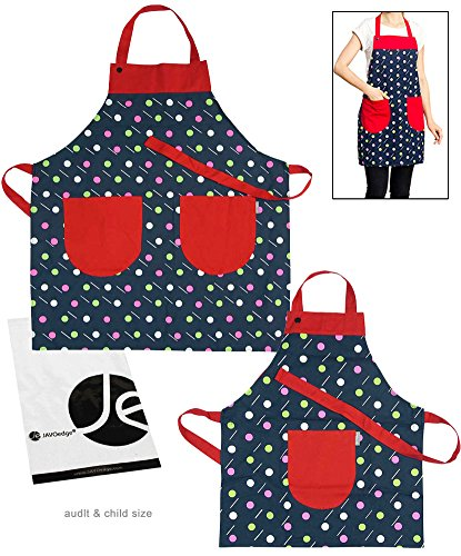 JAVOedge Polka Dots Mommy and Me Apron Cooking/Baking Apron with Pocket Great Gift to Mother and Daughter Matching (Daughter Aprons)