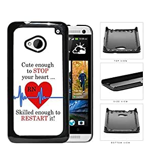 RN Nurse Red Heart with Blue EKG Line & Quote [HTC one M7] Hard Snap on Plastic Cell Phone Cover