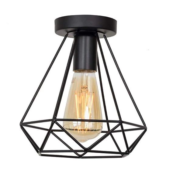 Luces de techo Lámpara de techo negra de hierro Accesorios de ...