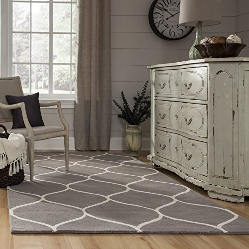 Momeni Rugs NEWPONP-10GRY2030 Newport Collection, 100% Wool Hand Tufted Loop Cut Contemporary Area Rug, 2' x 3', Grey ()