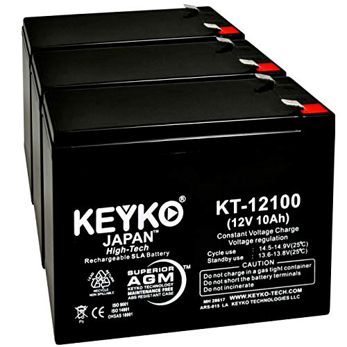Battery 12V 10Ah Fresh & Real 10.0 Amp AGM/SLA Sealed Lead Acid Rechargeable Replacement Genuine KEYKO KT-12100 - F2 Terminal - 3 Pack