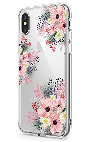 iPhone X Case, JAHOLAN Girls Floral Design Clear TPU Soft Slim Flexible Silicone Glossy Phone case for Apple iPhone X – Pink Blossom Flower