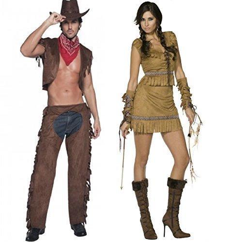 Ladies   Mens Fever Cowboys   Indians Wild West Western Matching Cowboy  Sheriff Native Indian Squaw 899eb3da2e2b