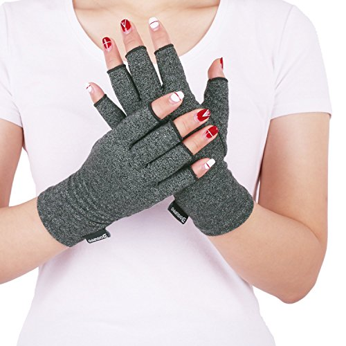 Arthritis Compression Gloves Relieve Pain from Rheumatoid, RSI,Carpal Tunnel, Hand Gloves Fingerless for Computer Typing and Dailywork, Support For Hands And Joints by DISUPPO (Medium (Rheumatoid Arthritis Gloves)