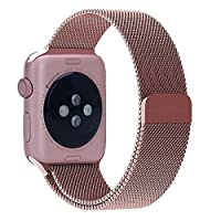 Apple Watch Band, Yearscase Milanese Fully Magnetic Closure Clasp Mesh Loop Stainless Steel iWatch Band Replacement Wrist Bracelet Strap for Apple Watch Sport&Edition 42MM (Rose Gold)