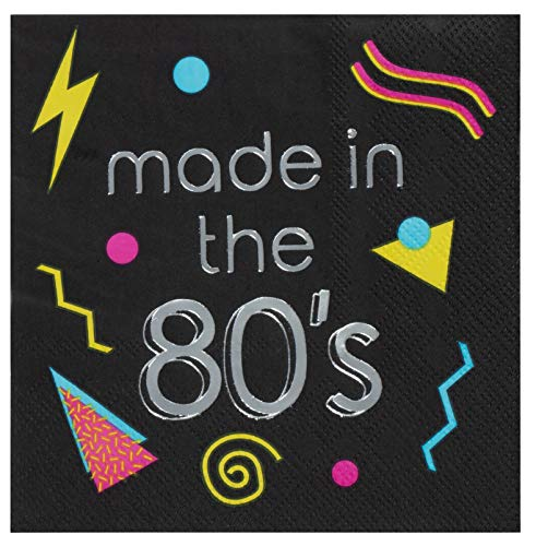 80s Cocktail Napkins - 50-Pack Made in the 80s in Silver Foil, 3-Ply Disposable Paper Napkins, Totally 1980s Retro Themed Birthday Throwback Party Supplies, Folded 5 x 5 Inches -