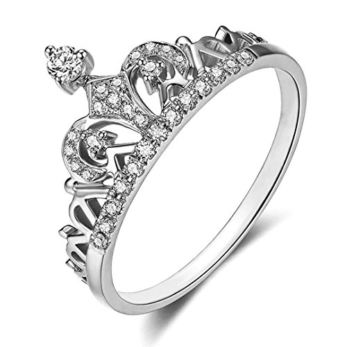 Presentski Women Crown Rings Silver Tiara Princess Queen 18K Platinum Plated Tiny CZ Promise Ring (Silver, 6)