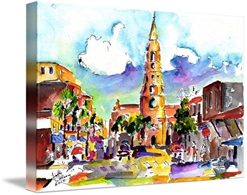 Wall Art Print entitled Charleston North Market Street & Church Painting by Ginette Callaway | 24 x - Charleston Market Street