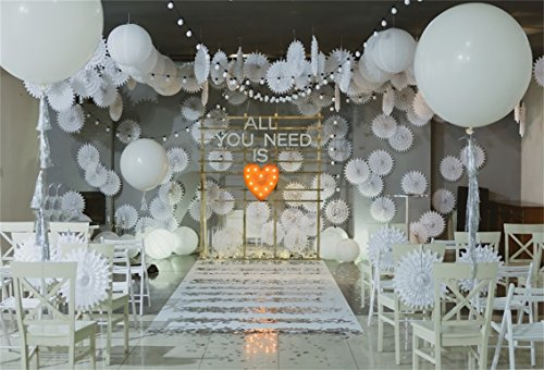 AOFOTO 7x5ft Wedding Ceremony Arch Interior Decor Background
