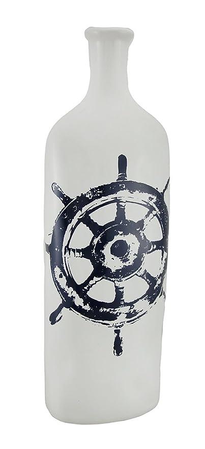 Vintage náuticas rueda diseño decorativo botella jarrón de cerámica de color blanco 9 Inch