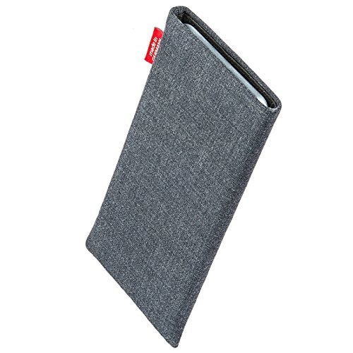 fitBAG Jive Gray custom tailored sleeve for Wiko Lenny. Fine suit fabric pouch with integrated MicroFibre lining for display cleaning