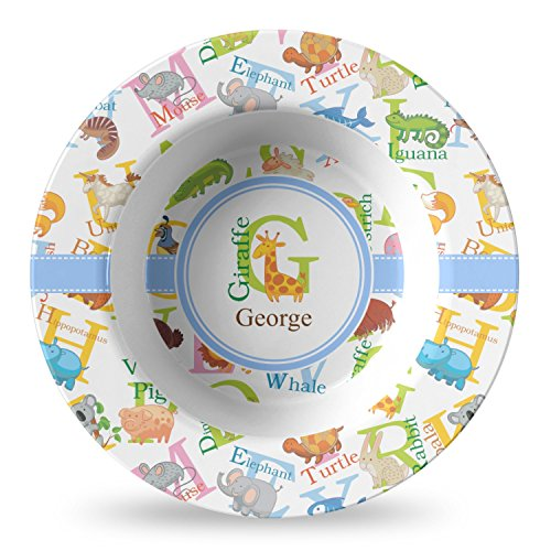 Animal Alphabet Plastic Bowl - Microwave Safe - Composite Polymer (Personalized) by RNK Shops