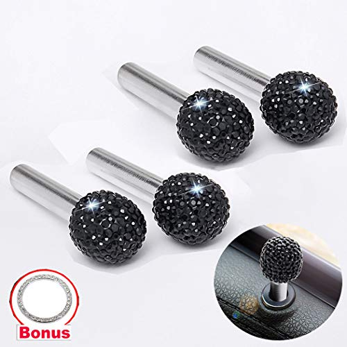 (Alusbell 4pcs/Pack Bling Bling Car Door Bolt Door Lock Pin Knob Button Cover Cap Crystal Diamond Car Interior Accessories for Women Universal Fit (Black-Bling Ball))