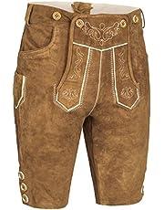 Herren Trachten Lederhose kurz   Inklusive Träger   in Verschiedenen Farben   schwarz, braun, gespeckt   100% Leder  