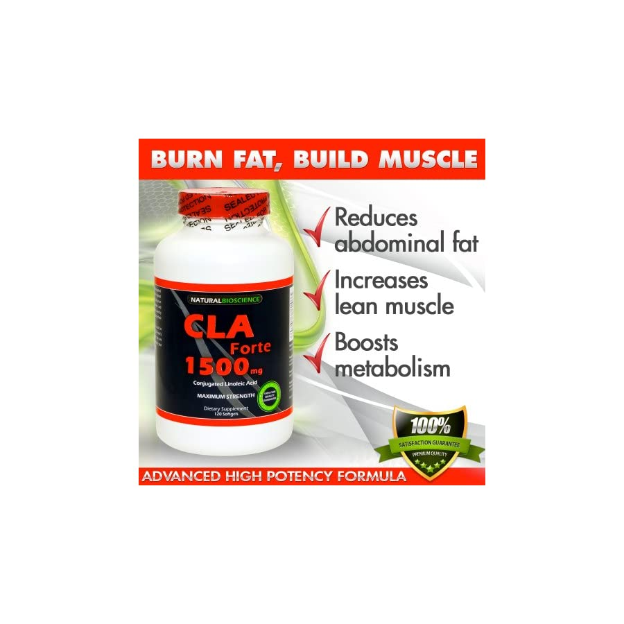 CLA Forte CLA 1500, Conjugated Linoleic Acid, High Potency CLA Supplement, CLA from 100% Safflower Oil for Weight Loss and Belly Fat, Increase Lean Muscle Mass, Non Stimulating, Gluten Free, 120 count