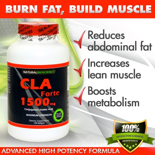 CLA Forte 1500mg, 120 Softgels High Potency Conjugated Linoleic Acid 100% Pure Safflower Oil Natural Supplement for Weight Loss and Muscle Building.