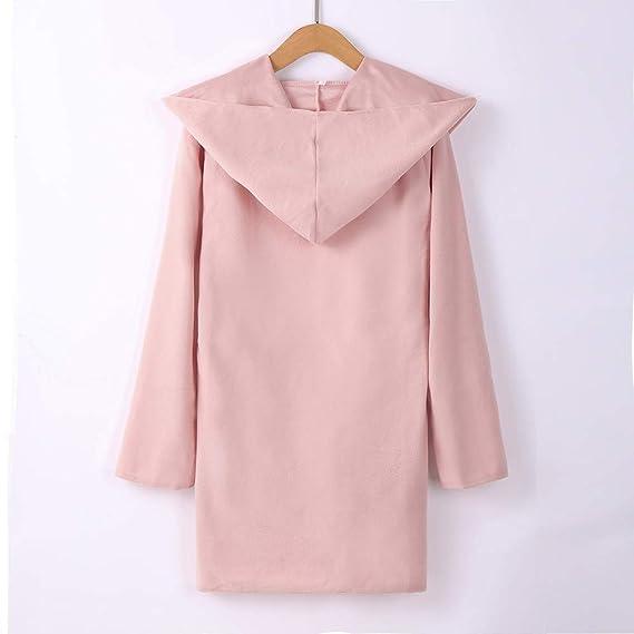 Qiusa Womens Wool Hooded Thin Coat Suelta Casual Hoodies ...