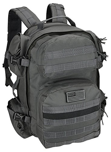 (Men's Large Gunmetal Grey Expandable Tactical Molle Hydration-Ready Backpack Daypack Bag)