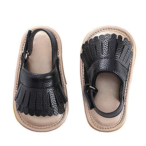 (Baby Sandal with PU Leather Tassels Non-Slip Summer Toddler Slipper 0 6 12 18 24Months (13cm Sole(12-18 Months), Black))