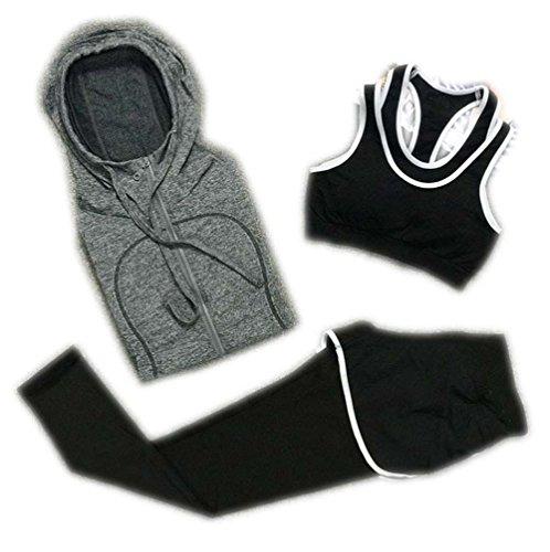 You Smile6 Women Yoga Sport Suit Bra Set 3 Piece Long sleeved...