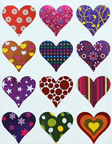 Heart Stickers - Decorative hearts shaped label for arts, favors and crafts foil stickers for Valentines day - Permanent adhesive - 60 pack by Royal Green