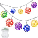 DecorNova 19.7 Feet 30-LED Battery Powered Rattan Ball String Lights with Waterproof 3AA Battery Case,2 Lighting Modes, Multi Colors