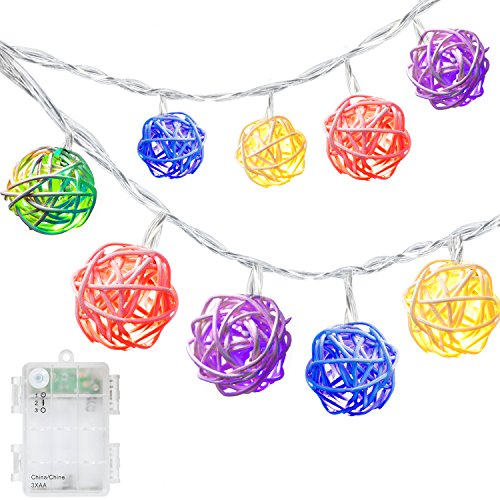 DecorNova 19.7 Feet 30-LED Battery Powered Rattan Ball String Lights with Waterproof 3AA Battery Case,2 Lighting Modes, Multi Colors by DecorNova