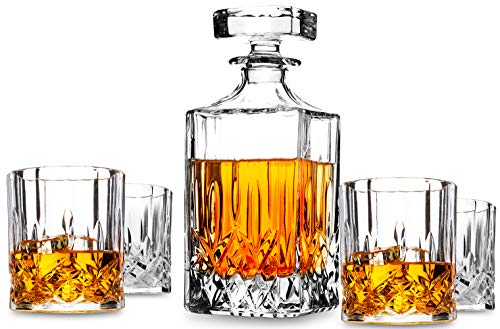 5-Piece Noblesse Crystal Whiskey Decanter Set. KANARS Premium Liquor Carafe with 4 Old Fashioned Glasses for Scotch or Bourbon. Dishwasher Safe