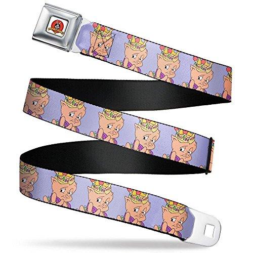Buckle-Down Men's Seatbelt Belt Porky Pig Regular, Hip hop Expression Lavender, 1.5
