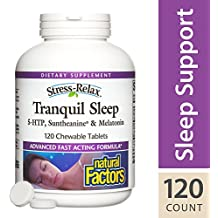 Natural Factors - Stress-Relax Tranquil Sleep, 5-HTP, Suntheanine & Melatonin, 120 Chewable Tablets