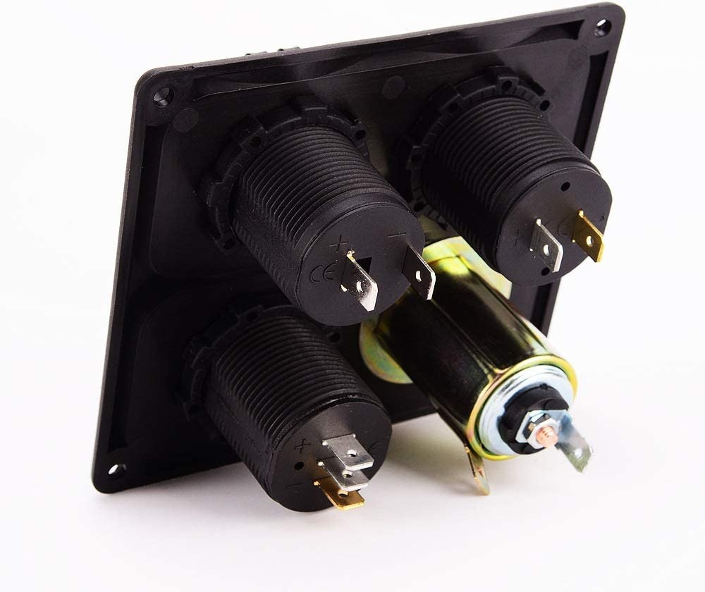 HuiQing Zhang Car RV USB caricabatteria for auto di seconda generazione + presa di corrente + accendisigari + amperometro di tensione quattro in For (Color : C857-Z) C857-Z