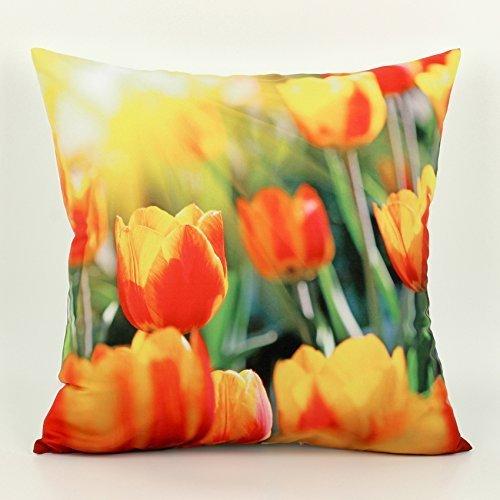 (KarilShop tulip flower Linen Throw Pillow Case Cushion Cover Home Sofa Decorative 18 X 18 Inch.)