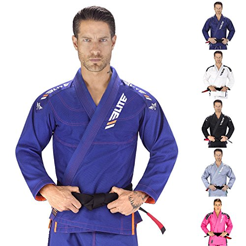 Elite Sports IBJJF Ultra Light Brazilian Jiu Jitsu Gi with Preshrink Fabric and Free Belt, Blue, A5