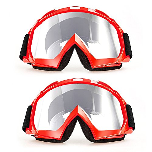 CarBoss Outdoor Goggles/Motorcycle Sunglasses, 2 Pack Anti-dust Fit Over Glasses Helmet Motorbike Motocross, Dirt Bike Cycling, ATV Racing Safety Goggles for Men & Women, Youth - 100% UV - Goggles Best Cycling