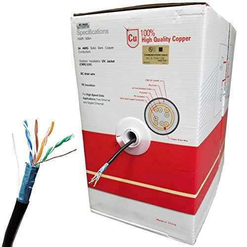 1000' Extreme Weatherproof Waterproof UV Rated Shielded Cat5E Cable W/ Solid Copper Conductors, UL Listed, Easy Pull Box