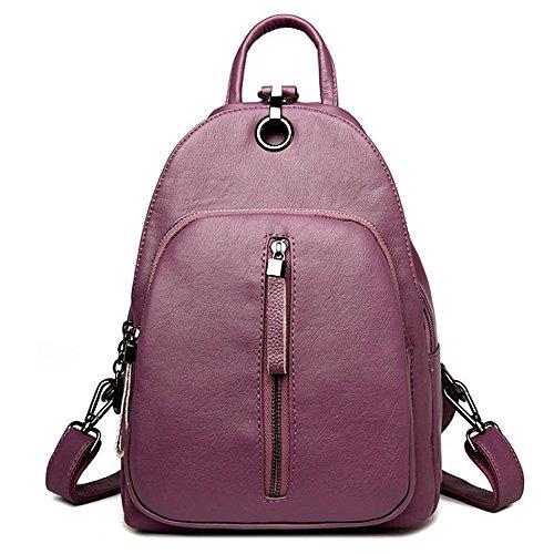 (JVP1066-R) Luc Sheep mochila de cuero resistente al agua Cute 5 colores de cuero natural bolso de gran capacidad para las niñas Fashion Fashion Bag ligero mochila Commuter School Púrpura