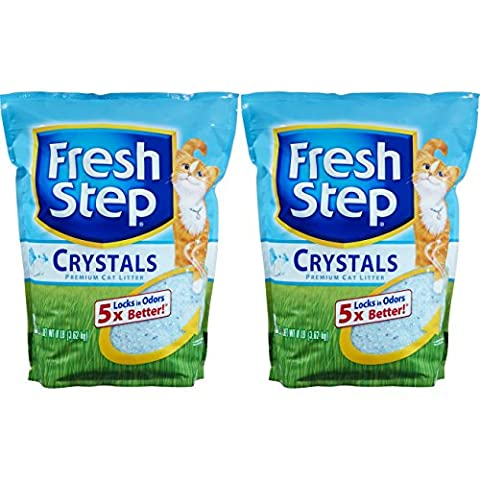 Fresh Step Crystals, Premium, Clumping Cat Litter, Scented, Two 8 Pound bags - Flush Litter Box