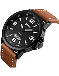 Mens Unique Analog Quartz Leather Band Dress Wrist Watch Waterproof Classic Business Casual Fashion Design Scratch...