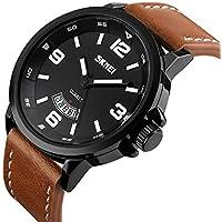 Mens Unique Analog Quartz Leather Band Dress Wrist Watch Waterproof Classic Business Casual Fashion Design Scratch...