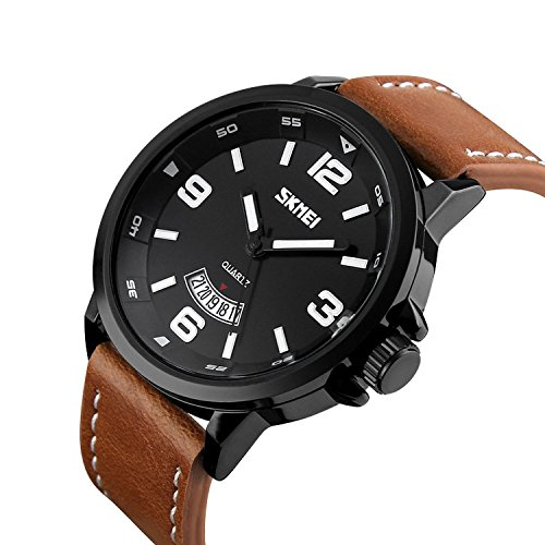 Mens+Unique+Analog+Quartz+Leather+Band+Dress+Wrist+Watch+Waterproof+Classic+Business+Casual+Fashion+Design+Scratch+Resistant+Face+Calendar+Date+Window+Phase+98FT+30M+3ATM+Water+Resistant+-+Black