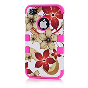 FLG 3 In 1 Detachable Design Hybrid back case Cover For Iphone 4/4G/4S (Hawaii Flo Case