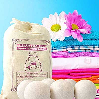 Wool Dryer Balls XL for Laundry (Set of 6) - Reusable Fabric Softener and Natural Drying Aid