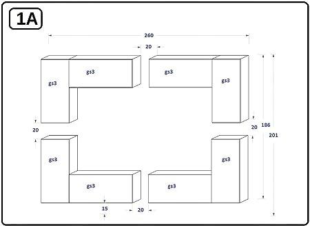 HomeDirectLTD Future 20 Moderno Conjunto De Muebles De Salón Blanco Brillante (20/HG/W/2, RGB LED)