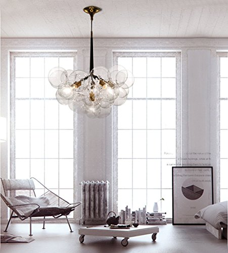 60W Artistic Modern Chandelier Pendant with 6 Lights in 20 Glass Bubble Design Modern Home Ceiling Light Fixture Flush Mount Pendant Light Chandeliers Lighting (6 Light 60w Pendant)