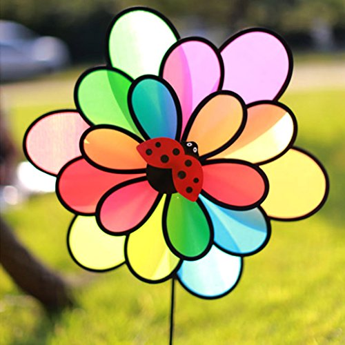 Triple Pinwheel (Peachshop 3 Layers Flowers Pinwheel For Outdoor Wedding Party Garden Picnic Decoration (Random Insect Pattern))
