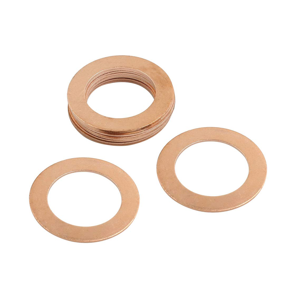 X AUTOHAUX 10pcs 26mm Inner Diameter Copper Washers Flat Sealing Gaskets Ring