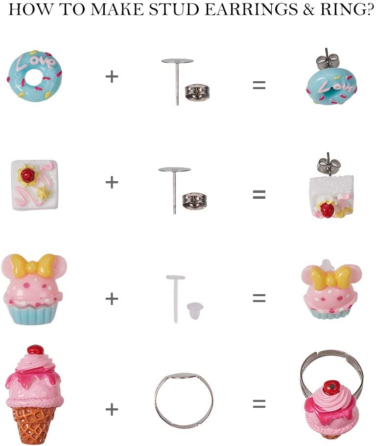 SUNNYCLUE 1 Box 110pcs Mixed Cartoon Animal Resin Flatback Cabochon Stud Earrings Rings Making Kit Halloween Theme DIY Make 12 Pairs Stud Earrings /& 4pcs Rings