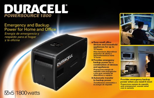 Duracell 852-1807 1,800 Watt Five Outlet Rechargeable Power Source by Duracell (Image #1)