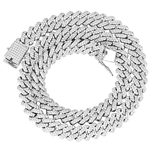 GOLD IDEA JEWELRY Hip Hop Heavy 14k Gold Plated/White Gold Plated Full Iced Out Miami Cuban Link Chain Necklace & Bracelet 12MM (White Gold Plated, 18)